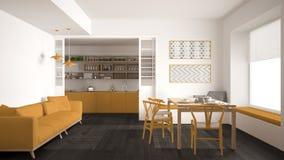 Минималистская кухня и живущая комната с софой, таблицей и стульями, Стоковые Изображения RF