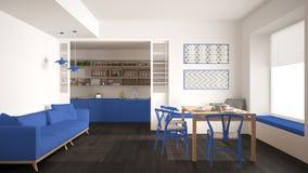 Минималистская кухня и живущая комната с софой, таблицей и стульями, Стоковые Фотографии RF