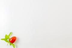 Минималистское взгляд сверху одиночного томата вишни на белой предпосылке Стоковое Изображение