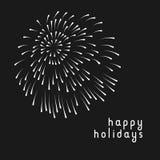Минимальная поздравительная открытка с фейерверками Стоковое фото RF