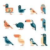 Минимальный геометрический комплект значка птиц Стоковые Изображения RF