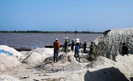 Минирование соли, розовое озеро стоковая фотография rf