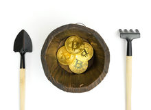 Минирование Bitcoin, золотые bitcoins в руке Символ цифров новой виртуальной валюты на предпосылке изолята Стоковая Фотография RF