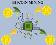 Минирование Bitcoin, материнская плата, приобретение для bitcoins, секретное иллюстрация вектора