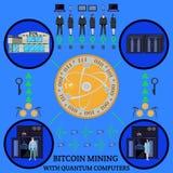 Минирование Bitcoin с схемой технологического процесса вектора компьютеров суммы отростчатой Стоковое Изображение