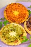 3 мини вегетарианских киша Стоковые Фотографии RF