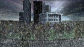 Мини город на пасмурном дне с проливным дождем и торнадо бесплатная иллюстрация