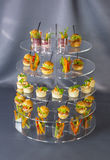 Мини закуски овоща десертов и канапе мяса Стоковые Фото