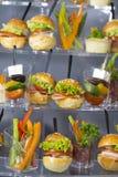 Мини закуски овоща десертов и канапе мяса Стоковая Фотография RF