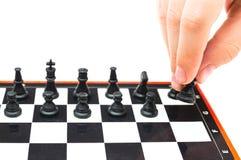 Мини компактный портативный шахмат с малыми диаграммами Стоковое Изображение