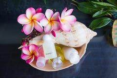 Мини комплект жемчужной ванны и ливень gel в раковине раковины моря Стоковые Фото