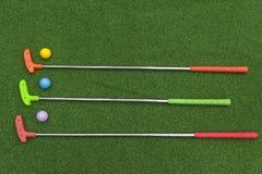 3 мини короткой клюшки гольфа с шариками стоковые изображения