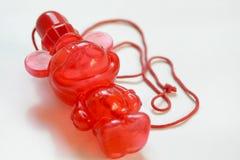 Мини красная игрушка младенца пузыря дуновения медведя Стоковое фото RF