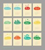 Мини милый календарь 2015 сезонов Стоковые Фотографии RF