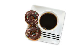 Мини донут с шоколадом и брызгает завтрак чашки кофе Стоковая Фотография