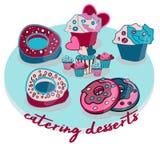 Мини пирожные десерта на праздник иллюстрация штока