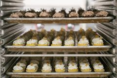 Мини пирожные на подносах Стоковое Изображение RF