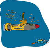 Мини подводная лодка и водолаз Стоковая Фотография RF