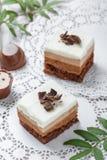 Мини торты с белыми шоколадом, какао и конфетами на светлой предпосылке Стоковая Фотография