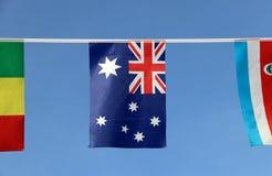 Мини флаг рельса ткани Австралии в цвете голубого красного цвета и белизны с белыми звездой и смертной казнью через повешение Юни Стоковое Изображение