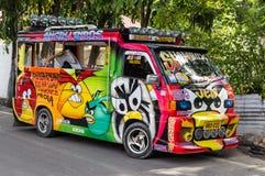 Мини фургон с красочной картиной шаржа Стоковое Изображение RF
