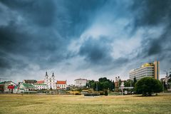 Минск, Беларусь Взгляд собора святого духа в Минске известно Стоковое Изображение