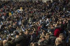Минск, Беларусь, 09 01 2018 - спичка Dinamo Минск Беларусь - Lokomotiv Yaroslavl Россия хоккея Стоковые Фото