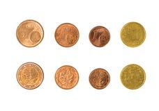 Минск, Беларусь - 16-ое апреля 2016: 4 EC eurocent 1, 2, 5, 10 e Стоковое Изображение