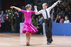 Минск-Беларусь, 18-ое октября 2014: Неопознанные пары Perfo танца Стоковое Фото