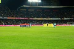 Минута молчания для памяти Johan Cruyff перед спичкой стоковые изображения