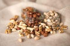 Миндалины, грецкие орехи и фундуки Стоковая Фотография RF