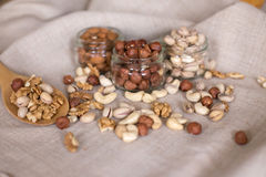 Миндалины, грецкие орехи и фундуки Стоковое Изображение