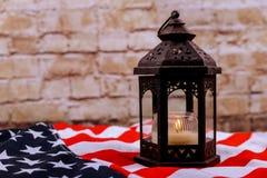 Миражирует мягкий свет против американского дня патриота Дня независимости национального флага Стоковое Изображение RF