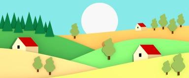 Мирная долина с небольшими домами, деревьями и иллюстрацией полей 3D Стоковая Фотография