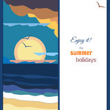 Мирная панорама захода солнца моря Теплая палитра сбор винограда распаровщиков плаката california иллюстрация штока