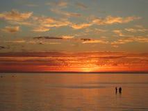 Мирный заход солнца воды Стоковое Изображение RF