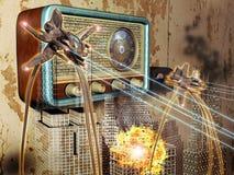 миры войны радио передачи иллюстрация штока