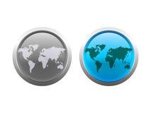 мир вектора карты кнопок Стоковые Изображения