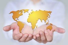 Мир в ваших руках, концепции творческой карты Стоковые Изображения