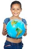 мир глобуса девушки Стоковые Фото