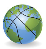 мир глобуса принципиальной схемы баскетбола шарика Стоковое Изображение