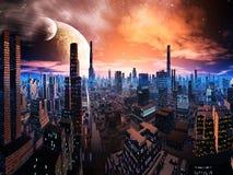 мир городского пейзажа дистантный освещенный неоновый иллюстрация штока