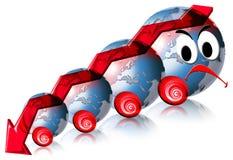 мир дела финансовохозяйственный локомотивный красный унылый иллюстрация вектора