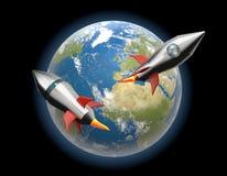 Мир земли выпускает ракету проект 3d-illustration элементы этого ia Стоковые Фотографии RF