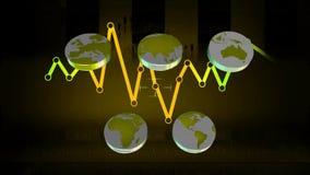 Мир - значки - графики - синь 02 сток-видео
