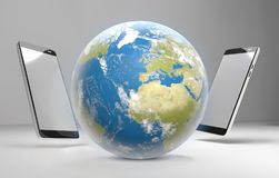 Мир знонит по телефону 3d-illustration Стоковое фото RF