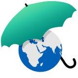 мир зонтика земли защищенный зеленым цветом Стоковые Изображения