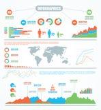 мир карты данным по infographics графиков элементов установленный Стоковые Изображения RF