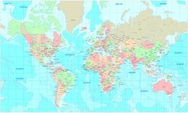 мир карты политический Стоковое Изображение RF