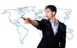 мир карты человека чертежа Стоковое Фото